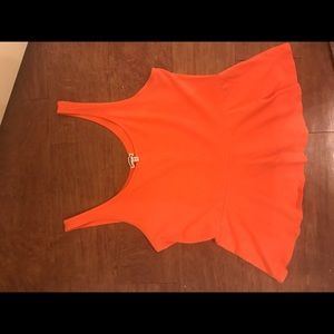Express  Cotton Peplum Top in Coral